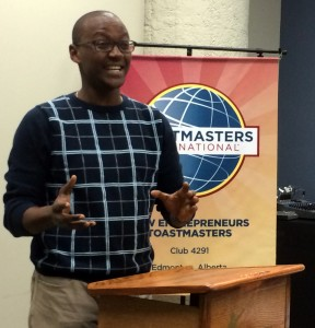 Safari giving an introduction for a Toastmasters